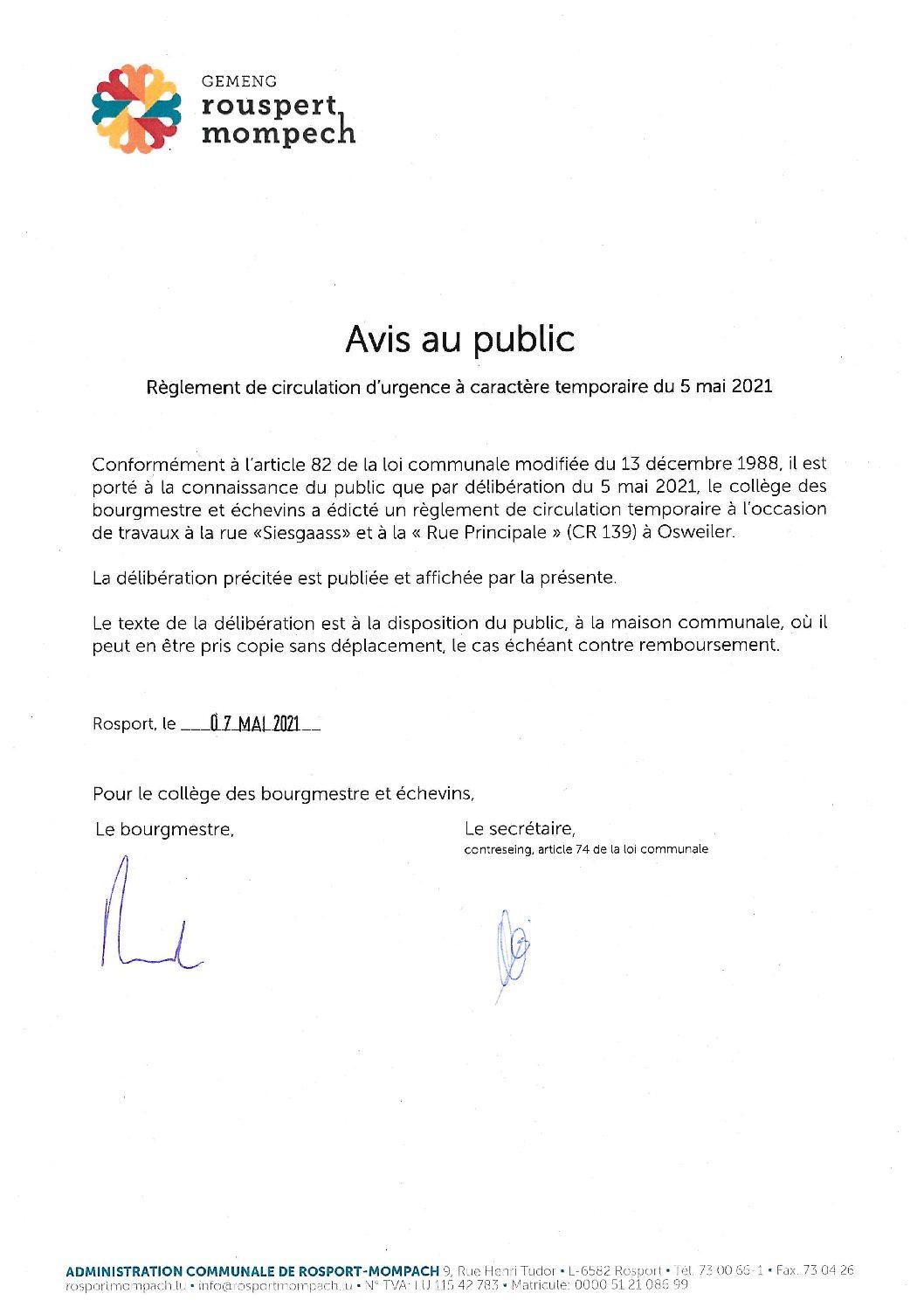008-2021 Règlement de circulation CE - AVIS DE PUBLICATION