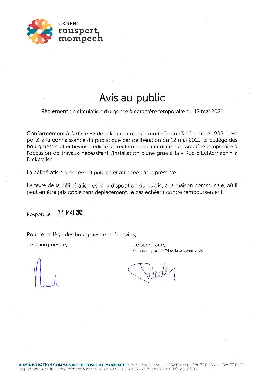 010-2021 Règlement de circulation CE - AVIS DE PUBLICATION