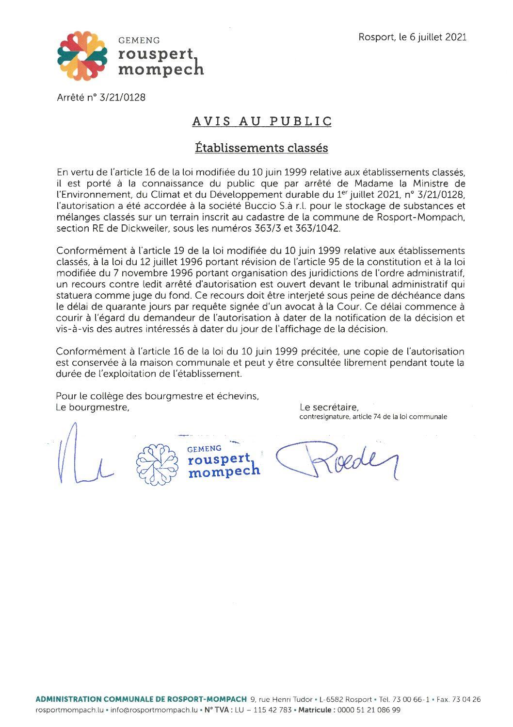 2021-07-06 - BACCIO - autorisation environnement